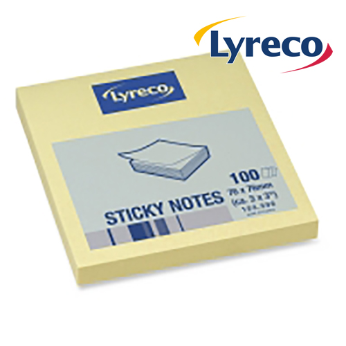 Lyreco Yellow Sticky Notes 76x76mm (12)