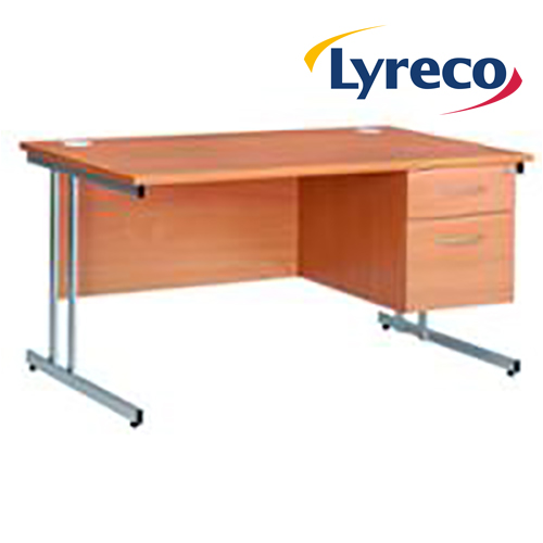 Modular C Frame Straight Desk with 2 Drawer Fixed Pedestal - Beech